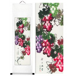 Grace Art, Hand Painted, Traditional Asian Wall Scroll, Luscious Grapes