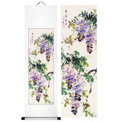 Grace Art, Hand Painted, Traditional Asian Wall Scroll, Purple Blossoms