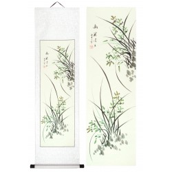 Grace Art, Hand Painted, Traditional Asian Wall Scroll, Wild Orchids