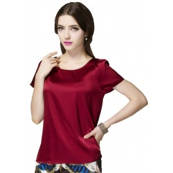 Solid Color, Short Sleeve Satin Silk Blouse, Maroon, Size Medium