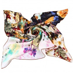 100% Silk Scarf With Hand Rolled Edges, Large, Heavenly Floral Dream, Green