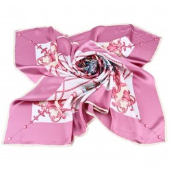 100% Silk Scarf, Extra-Large, Emporer's Carriage, Pink
